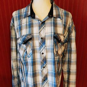BKE Standard Fit Plaid Snap Shirt XL